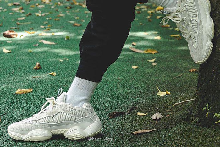 Adidas Yeezy Boost 500 Bone White On Foot Long