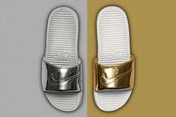 Nike Benassi Solarsoft Slide Liquid Metal Pack Thumb