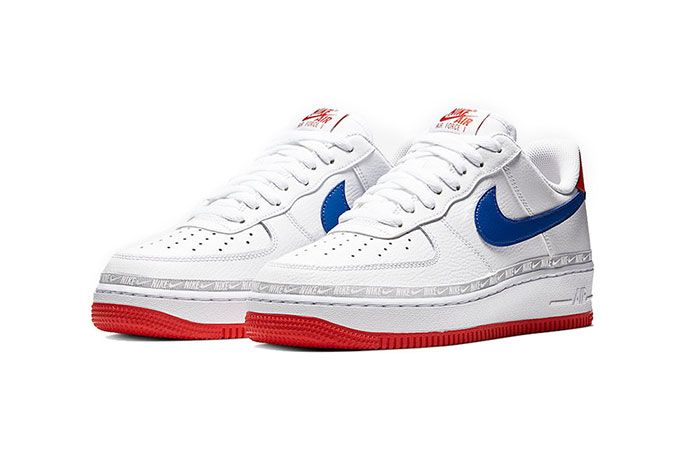 Nike Air Force 1 Red White Blue Front Angle Shot 3