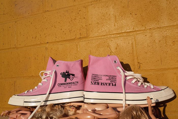 Pleasures Commonwealth Converse Dual Personalities All Star Hi Pink 3