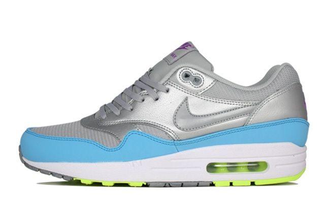 Nike Air Max 1 Fb Metallic Grey Light Blue Volt Side 1