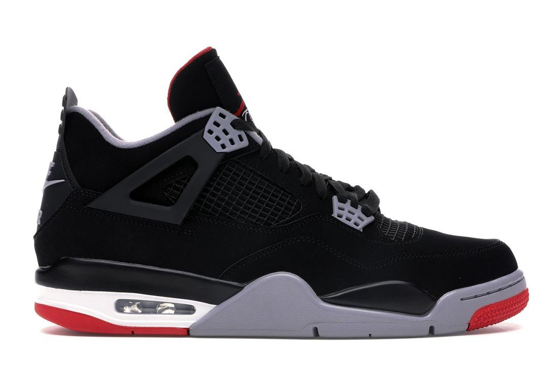 Air Jordan 4 Bred Black Cement Lateral Side Shot
