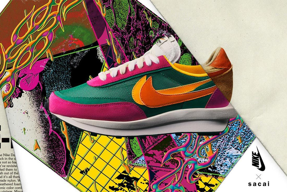 Sacai Nike Ldv Waffle Daybreak Green Pink Lateral Side Shot