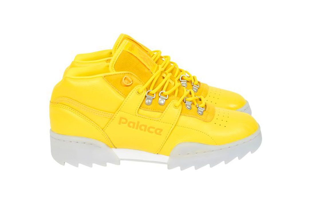 Palace Reebok Classic Workout Mid Ripple Sole Yellow Lateral Side Shot