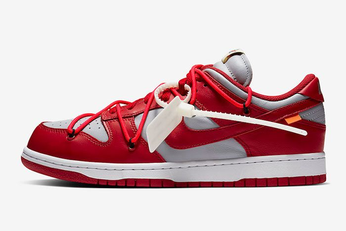 Off White Nike Dunk Low Red Grey Ct0856 600 Lateral