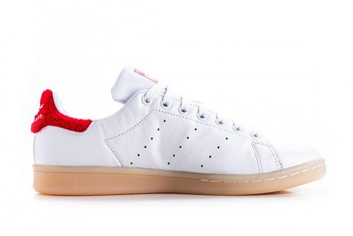 Adidas Stan Smith Fuzzy Heel White Red Womens 3