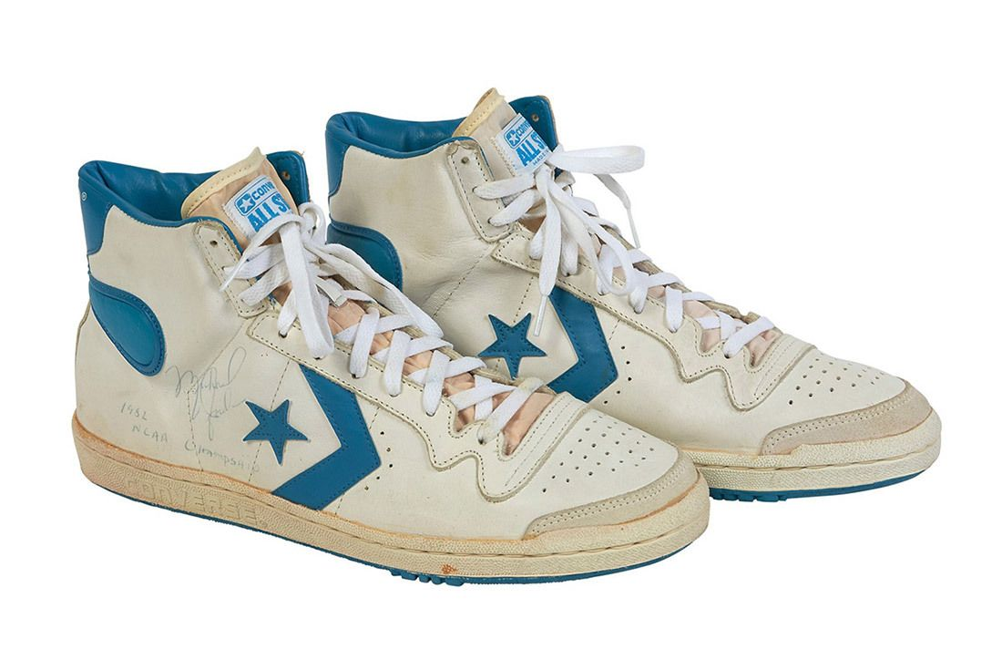 1981 82 Michael Jordan Signed Inscribed Pair Of North Carolina Tar Heel Game Worn Shoes From Freshman Ncaa Championship Season 2