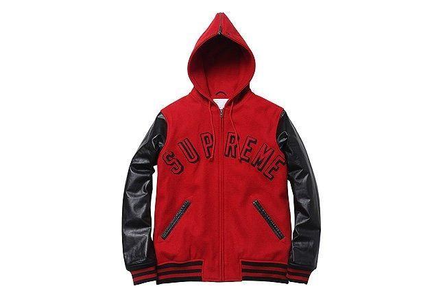 Hooded Varsity Jacket Supreme Red 1