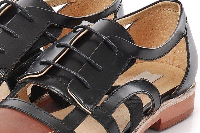 380G Black Cut Out Leather Sandal 3 1