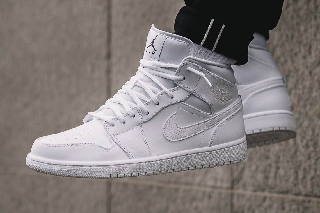 jordan 1 perforated white on feet