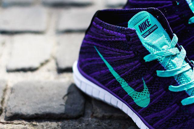 Nike Wmns Free Flyknit Chukka Court Purple Hyper Jade 2