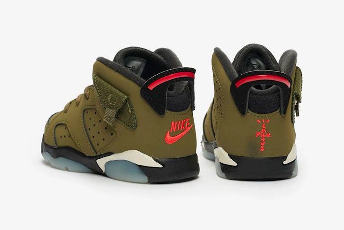 Travis Scott Air Jordan 6 Medium Olive Heel
