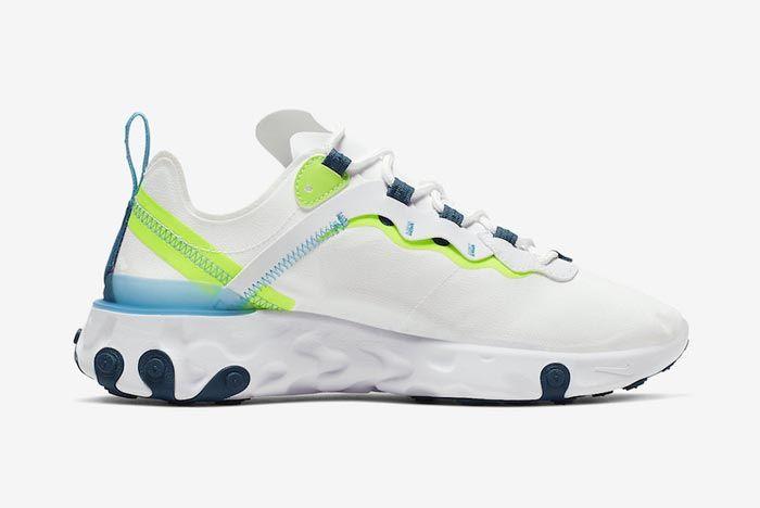 Nike React Element 55 White Navy Sea Green Medial