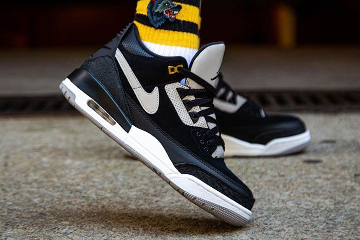 Tinker Air Jordan 3 Black Cement On Foot 3