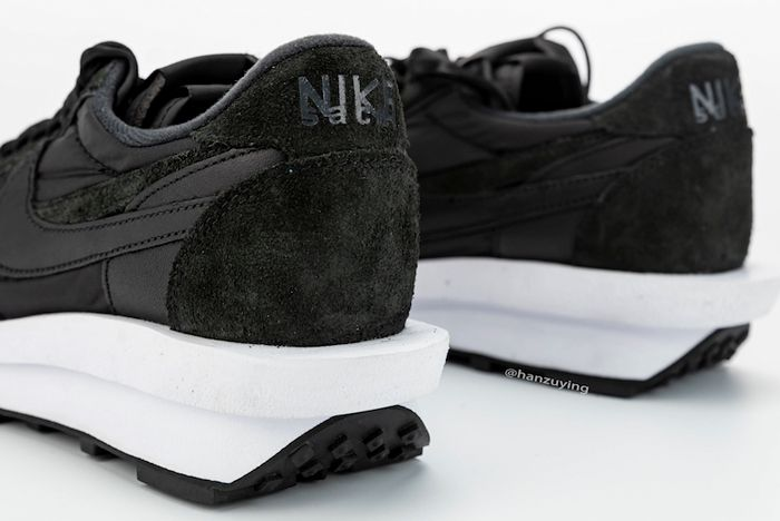 Sacai X Nike Ldwaffle Black Heel Closeup