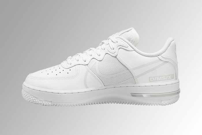 Nike Air Force 1 React White Pure Platinum Ct1020 101 Medial