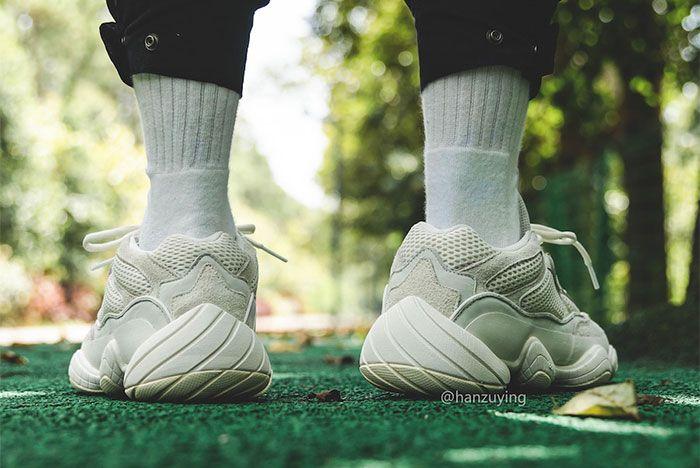 Adidas Yeezy Boost 500 Bone White On Foot Heel