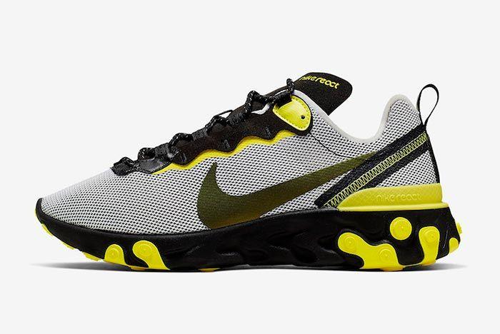 Nike React Element 55 Dynamic Yellow Ck1686 001 Lateral Side Shot
