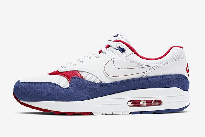 Nike Air Max 1 White Red Blue Cj9927 100 Lateral Side Shot