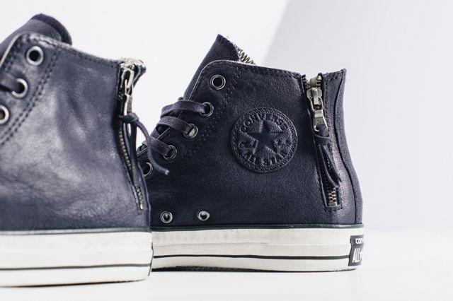 John Varvatos X Converse Leather Double Zip High Navy3