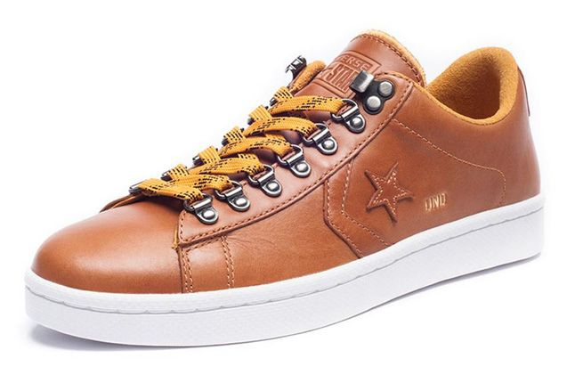 Undefeated Converse Leather Brown Lo Quater Front 1