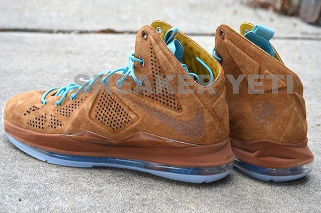 Nike Lebron X Hazelnut Brown Suede Heel Profile 1