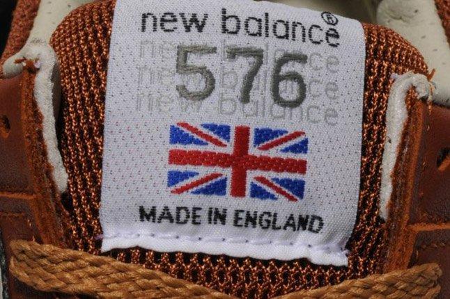 New Balance 576 Premium Leather Brown Tongue Logo 1