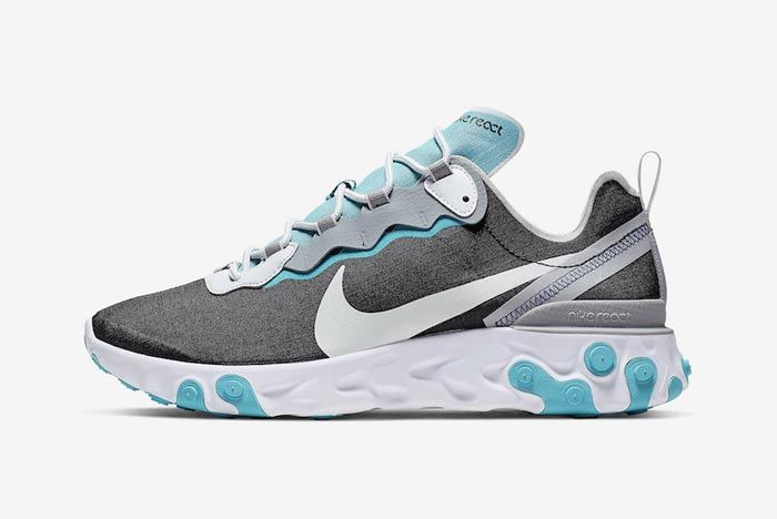 Nike React Element 55 Wolf Grey Pure Platinum Aqua Lateral