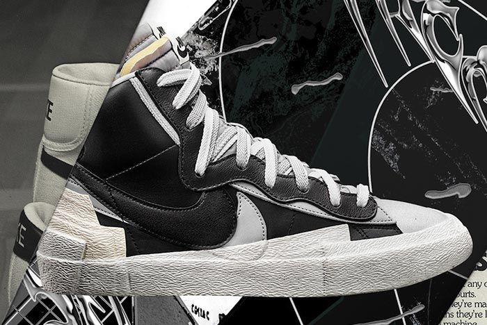 Sacai Nike Blazer Black White Grey Right Side Shot