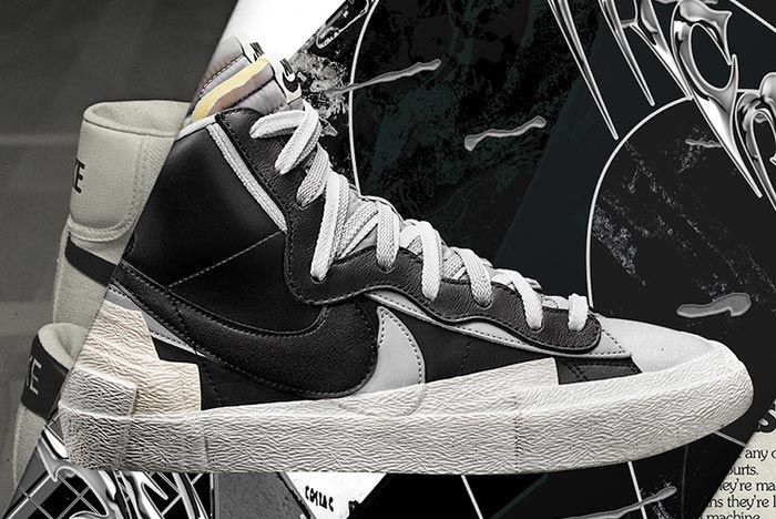 Sacai Nike Blazer Black White Grey Right Side Shot