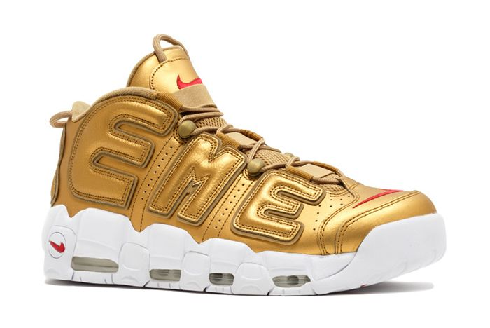 Supreme X Nike Air More Uptempo Metallic Gold8