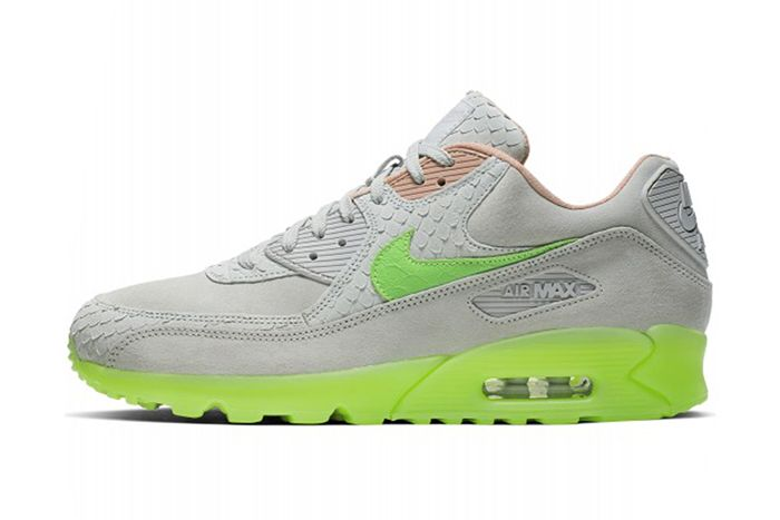 Nike Air Max 90 Snake Pure Platinum Electric Green Bio Beige Ck0902 001 Release Date Lateral
