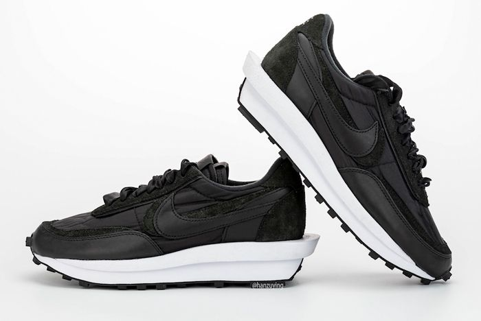 Sacai X Nike Ldwaffle Black Lateral Side Angle