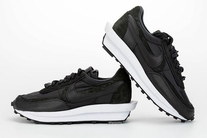 Sacai X Nike Ldwaffle Black Lateral Side Angle