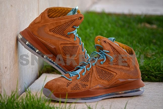 Nike Lebron X Hazelnut Brown Suede Profile Angled 1