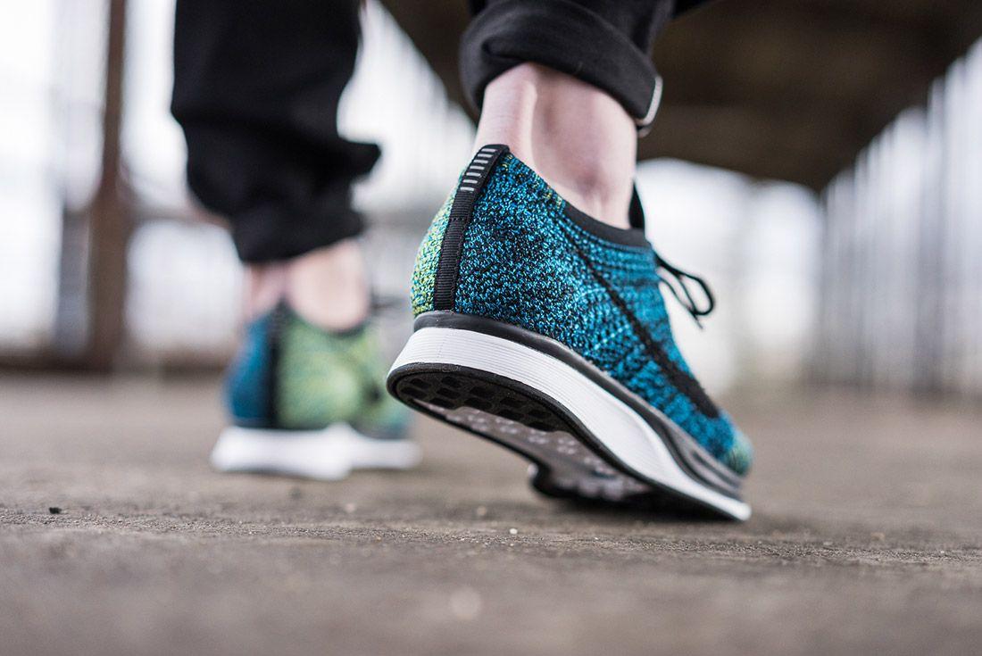 Nike Flyknit Racer Blue Glow On Feet 3