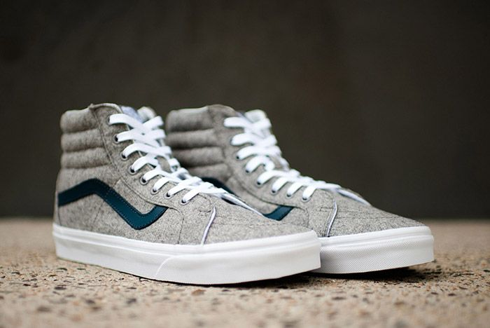 Vans Sk8 High Reissue Varsity Grey Wool Flannel 1