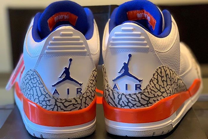 Air Jordan 3 Knicks Detailed Shots Pair Heel