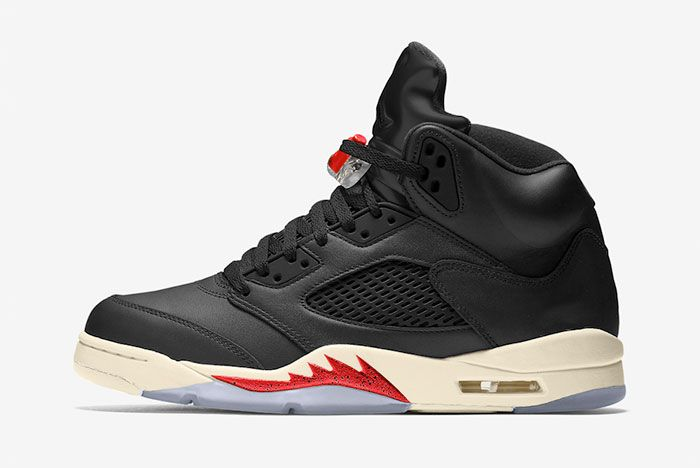 Air Jordan 5 Black Muslin Fire Red Ct8480 001 Release Date Mock Up