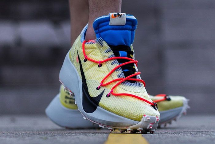 Off White Nike Vapor Street Yellow On Foot Front Angle Shot