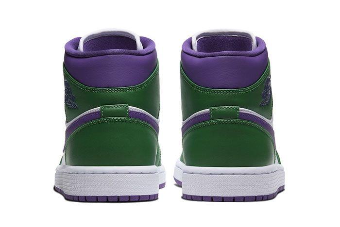 Air Jordan 1 Mid Hulk Green Purple Heel Shot