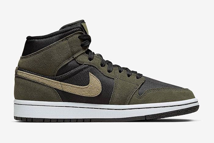 Air Jordan 1 Mid Military Olive Green Right