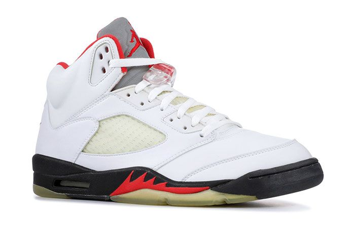 Air Jordan 5 Fire Red 3 M Silver Tongue 2020 Front Angle