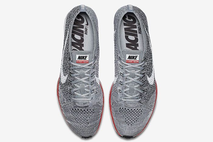 Nike Flyknit Racer Wolf Grey Red2