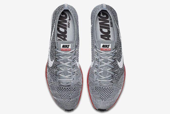 Nike Flyknit Racer Wolf Grey Red2