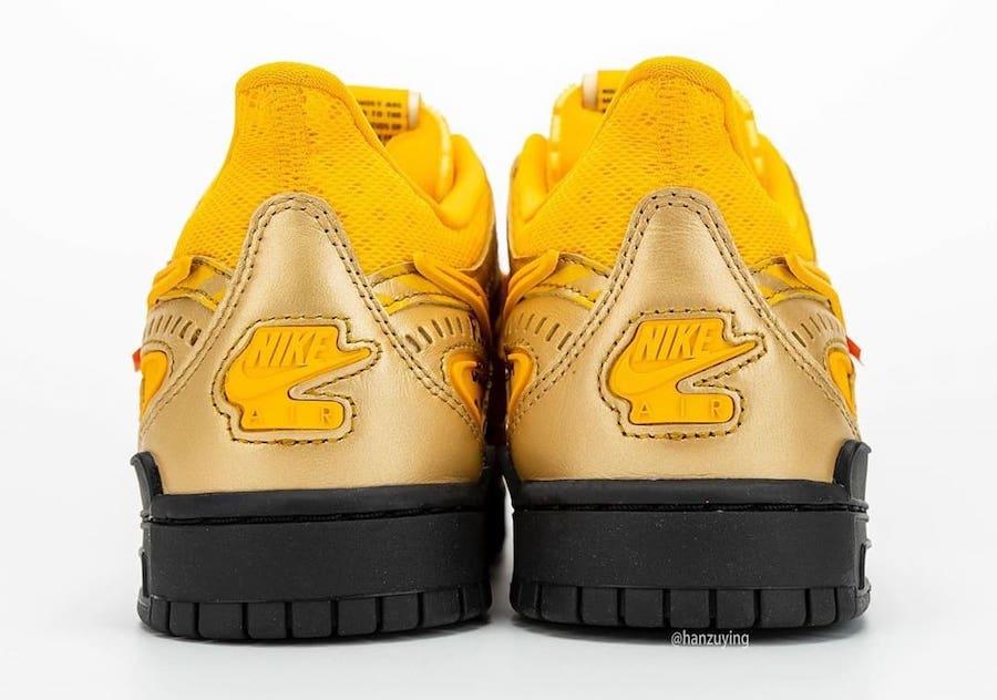 off-white nike air rubber dunk university gold heel