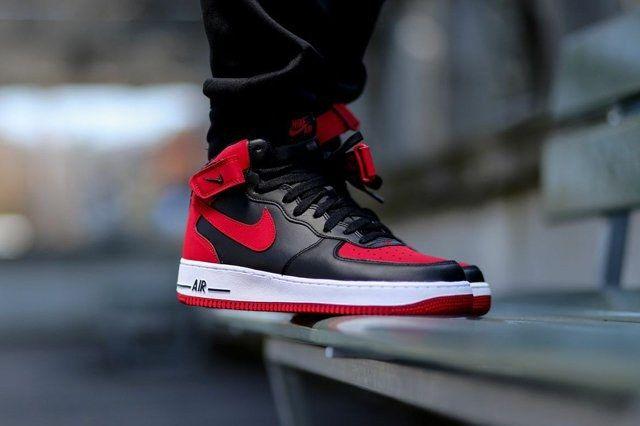 Nike Air Force 1 Mid Black Gym Red 1