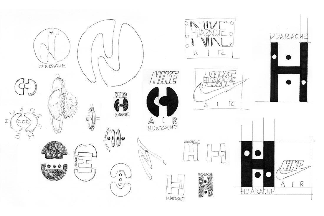 Early Nike Huarache Logo Sketches
