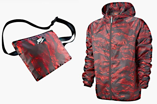 Nike Packable Camo Lightweight Windrunner Red
