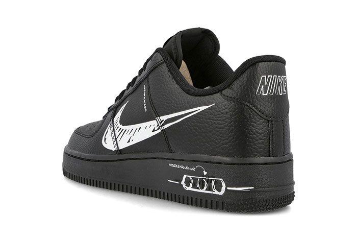 Nike Air Force 1 Sketch Black Heel
